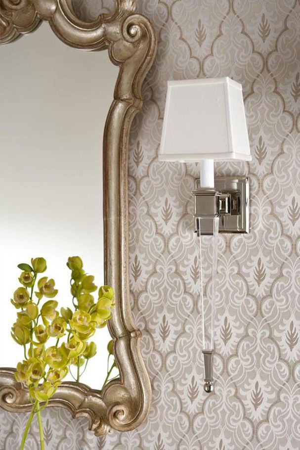 Wall Decor With Mirror, Contemporary Solid Crystal Sconce And Green  Orchids; Wall Lighting Ideas Part 73