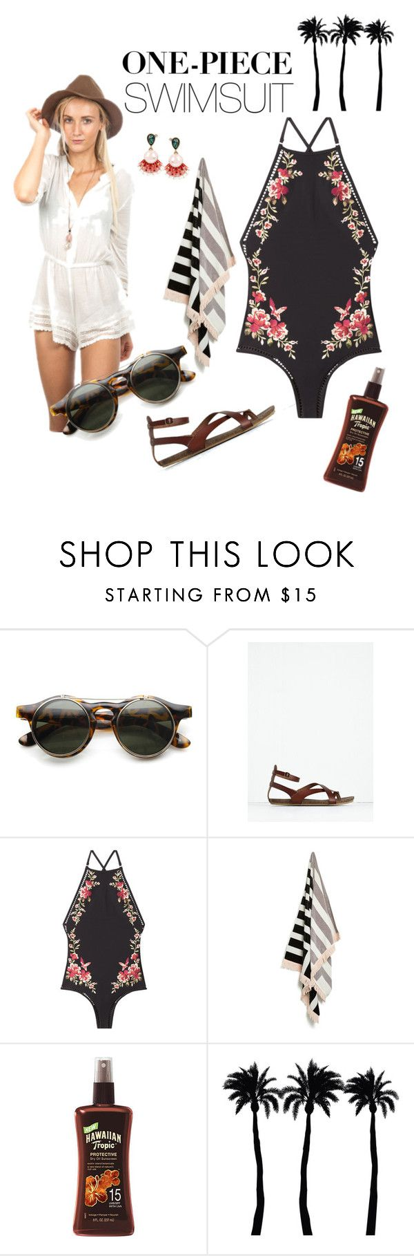 """""""Boho Beach Luxe"""" by foreignhearts on Polyvore featuring Zimmermann, Dot & Bo, Betsey Johnson and onepieceswimsuit"""