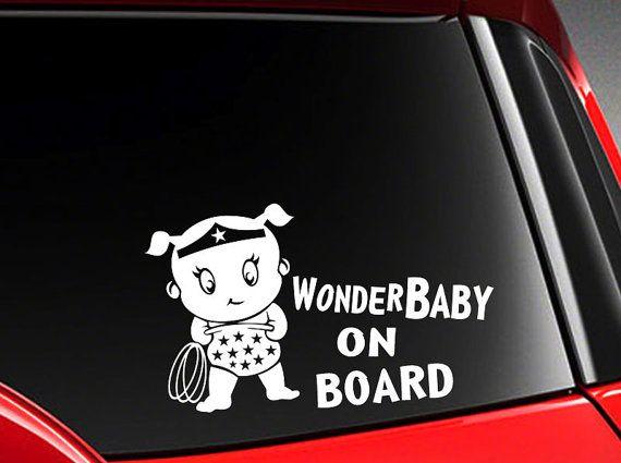 Baby On Board Car Decal Sticker Cute Superhero Baby Wonder Etsy In 2021 Animal Clipart Sticker Cute Digital Word Art