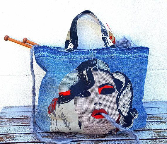 POP ART GIRL Denim Tote Project Bag Knitting Crochet Craft