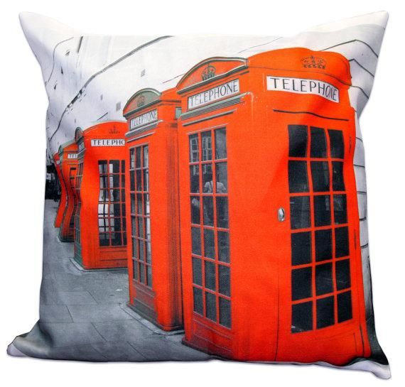 """Choices of London New York Icons Red 17"""" Pillow Cover Cushion Cover Telephone Box Taxi Red Bus Time Square by Wicked Wares"""