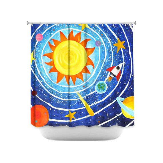 Kids shower curtain blue solar system space themed decor for Space themed bathroom accessories