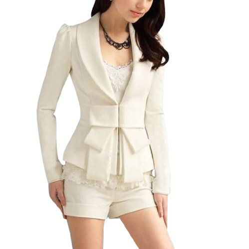 Allegra K Lady Shawl Collar Long Sleeve Hook Closure Jacket Coat White: Light Pink Blazers, Closure Blazers, Collars Long, Blazers Jackets, Lady Shawl, Long Sleeve, Shawl Collars, Hooks Closure, Sleeve Hooks