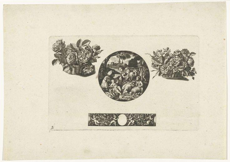 Jacques Vauquer | Horlogekast, twee bloemenmanden en een strook, Jacques Vauquer, Anonymous, Anonymous, 1631 - 1736 | Horlogekast met Heilige Familie, Johannes de Doper en een meid.