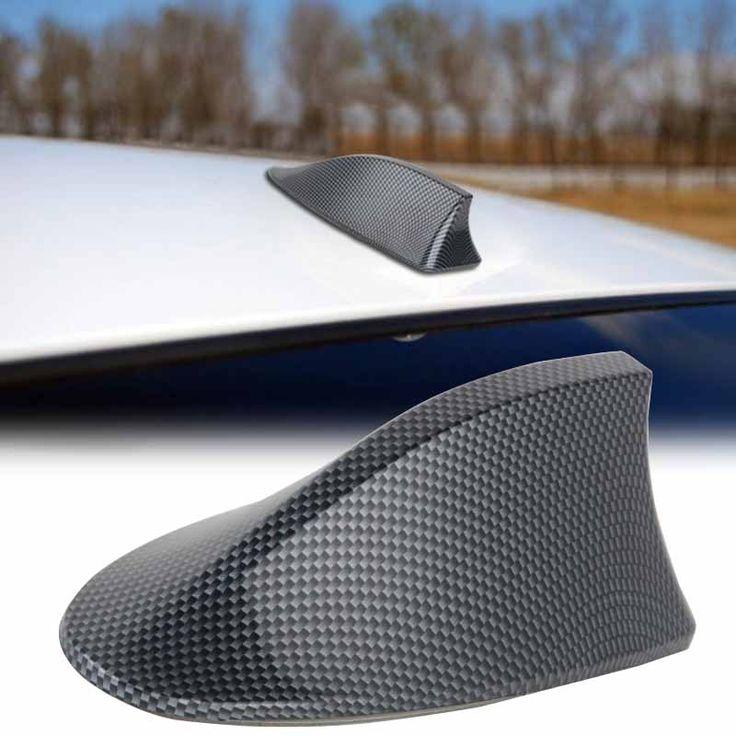 1 unid de alto rendimiento de fibra de carbono del coche antena de aleta de tiburón de aleta de tiburón techo antena de radio fm/am decorar aérea para bmw