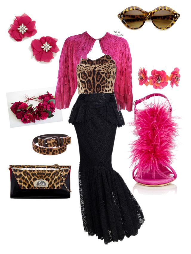 """""""Leopard in Pink"""" by heidi-uytendaal on Polyvore featuring Dolce&Gabbana, Manolo Blahnik, Christian Louboutin, Maje, Forest of Chintz and BaubleBar"""