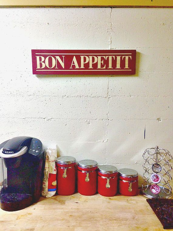 Rustic Kitchen Sign  Bon Appetit  Red  Pine by SCBoutique123