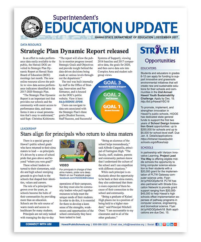 December 2017 Education Update | Monthly newsletter distributed to schools and the Board of Education. In this edition: The Strategic Plan Dynamic Report allows the public to easily view data sets of our key performance indicators, principals leading at their alma maters, a Bright Spots profile of Pauoa Elementary, grants awarded to schools, Supt. Kishimoto discusses how we make room for innovation while keeping focus on the teaching and learning core.