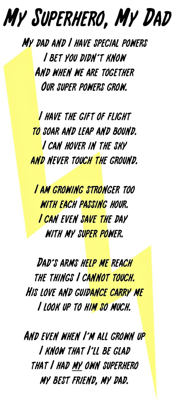 My Superhero, My Dad Poem and Printable