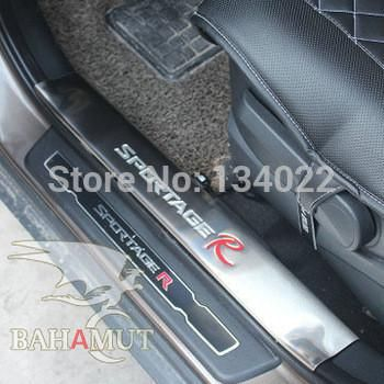 Free shipping stainless steel scuff plate door sill 4pcs/set car accessories for 2011 2012 2013 2014 KIA Sportage R SportageR