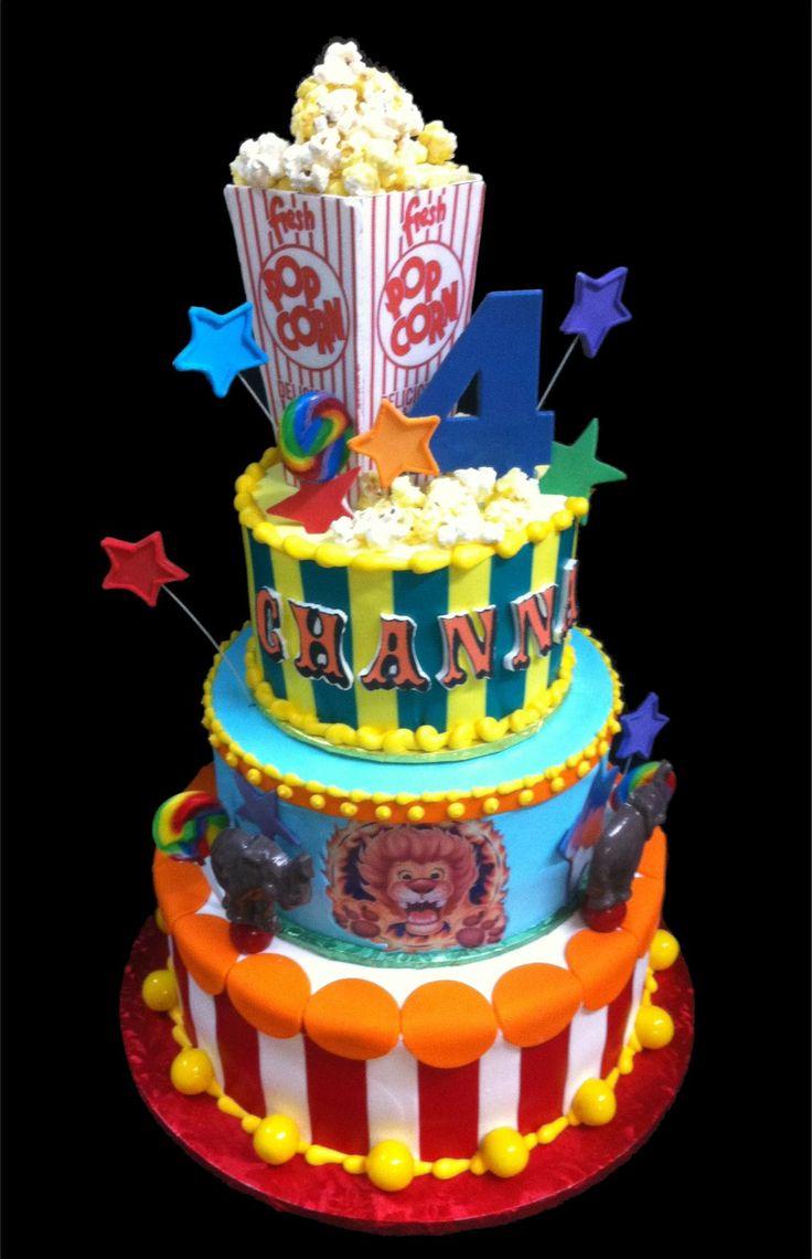 circus birthday cake  yellow  blue and white buttercream