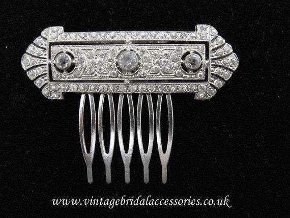 Vintage Art Deco mariage mariée peigne Accessoires cheveux de mariage sur Etsy, 83,21 €