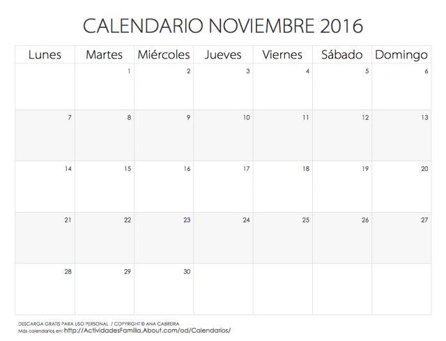 Calendarios 2016 para imprimir: Calendario Noviembre 2016