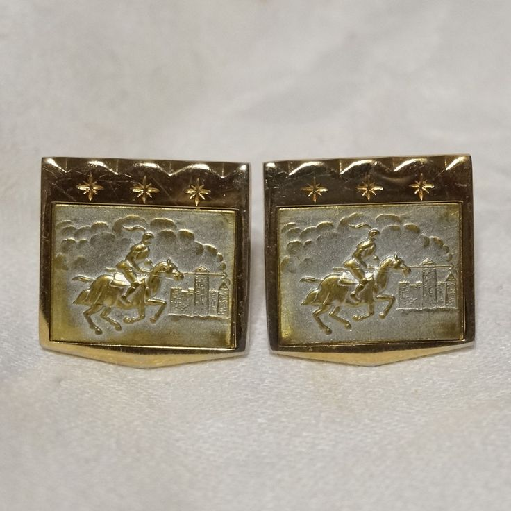 Mens Vintage 50s Foster Gold Plated Knight Jousting Cufflinks Cuff Links by NotSewIdle on Etsy