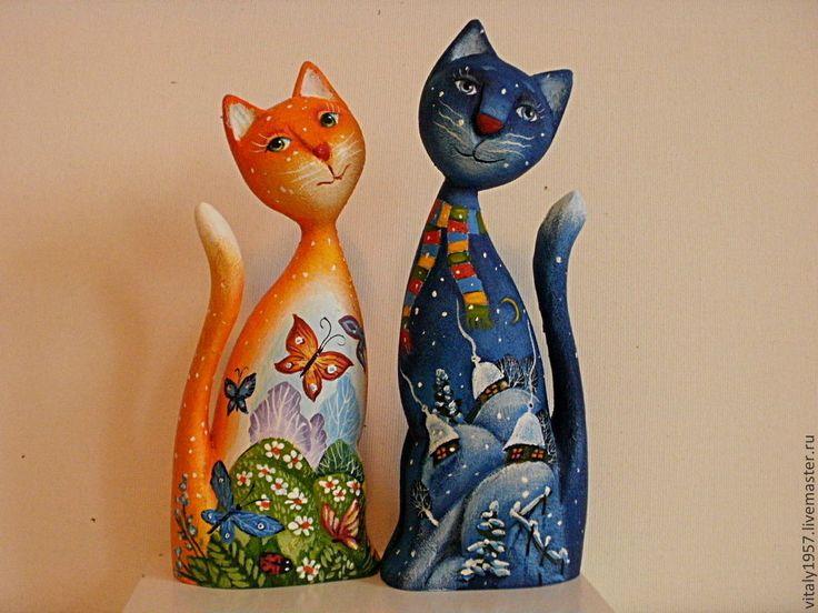 Купить Кошка и кот . Скульптура, дерево , ручная роспись - коты, дерево, Ручная роспись по дереву