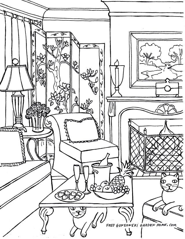 Coloring Pages For Adults Some Drawings Of Living Rooms To Color