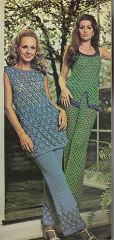 Vintage Spring Fashion – Crochet Patio Pants Set – free pattern  Green outfit with blue-trimmed tank top is quick to make of double crochet shells. Pants are seamless, have elastic waistband.
