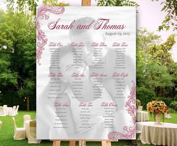 Photo Wedding Seating chart PRINTABLE Elegant lace by redlinecs