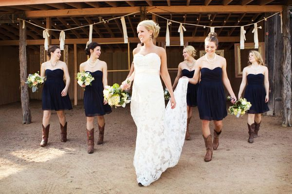 I love the black bridesmaids dresses with the boots soooo going to do this!!!!