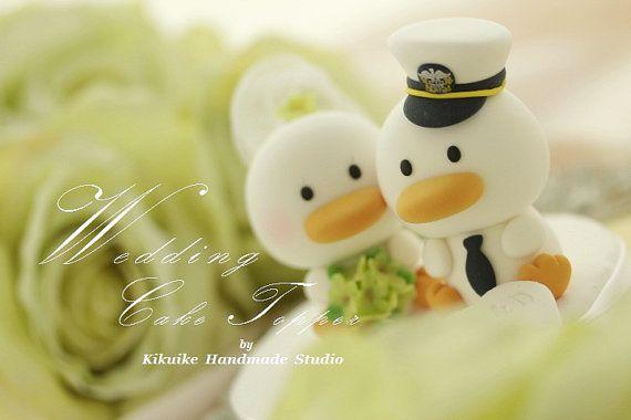 ducks  Wedding Cake Topper Handmade love  ducks cake por kikuike
