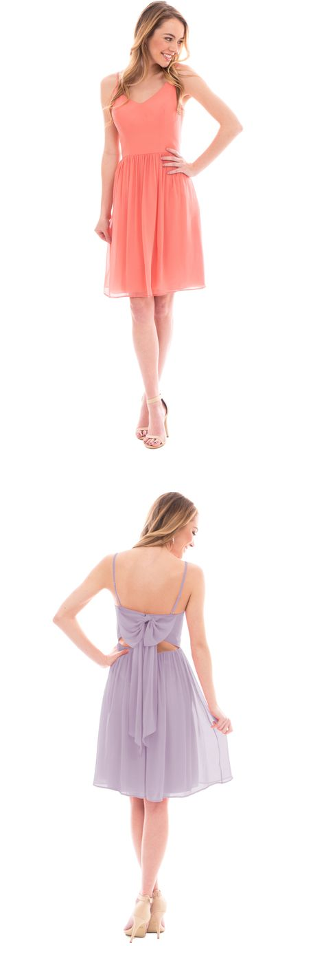 spaghetti straps a-line/princess knee length chiffon bridesmaid dress