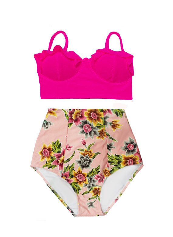 Pink Midkini Top and Pink Gold Flora High Waist Waisted Retro Vintage Shorts Bottom Bottoms Swimsuit Bikini Swimwear Bathing suit S M L XL by venderstore on Etsy