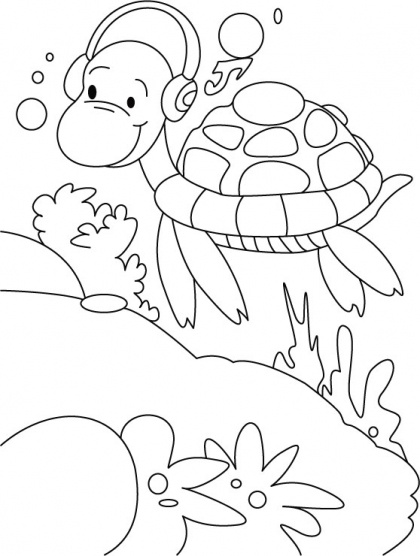 Turtles morning walk, with music rock coloring pages