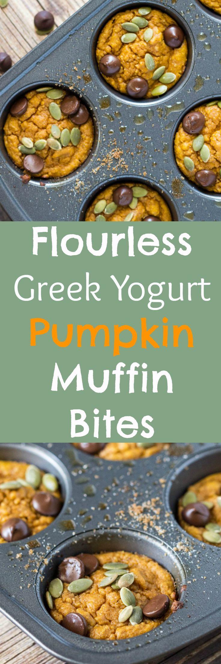 Flourless Greek Yogurt Pumpkin Muffin Bites! A delicious fall treat…