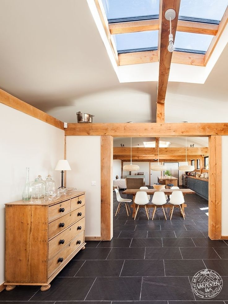 Open Plan Living Space with Exposed Douglas Fir Timber Beams and Glazed Roof Lantern