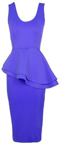 Side-Slant Double-Frill Long Bodycon Peplum Midi Dress