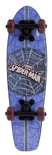 Spiderman Kid's Blue Wood Cruiser Skateboard, 21-Inch