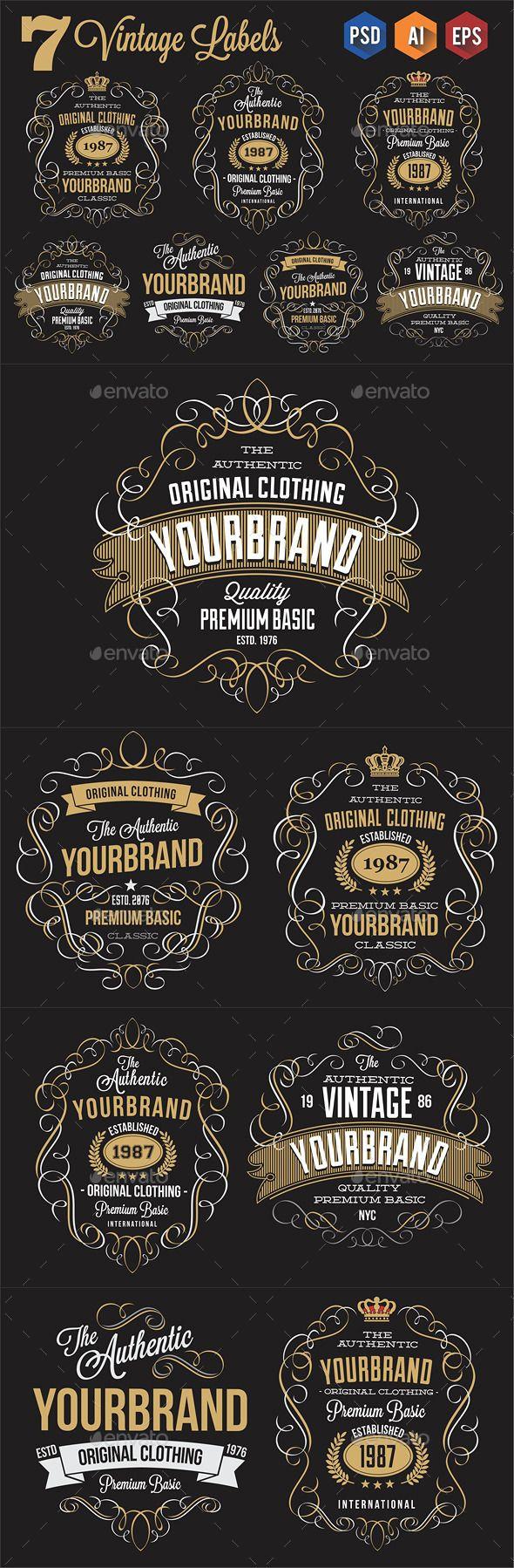 7 Vintage Labels Design #labels Download: http://graphicriver.net/item/7-vintage-labels/11411880?ref=ksioks