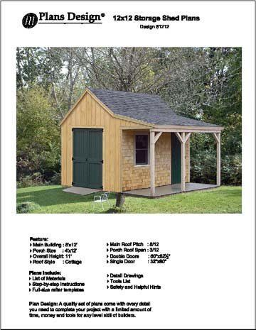12 x 12 cottage shed with porch project plans design for Storage building plans with porch