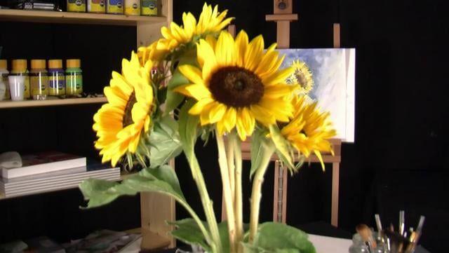 Rob Komala schildert een prachtig boeket zonnebloemen in aquarel. Stap voor stap laat hij zien hoe je te werk gaat. Het materiaal, de schets en het schilderij. Alles overzichtelijk in beeld gebracht.