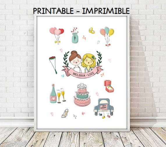 lesbian custom bridal, lesbian bridal print, bridal print,gift bridal print, gift lesbian print, custom print, bridal print,5 SIZES INCLUDED