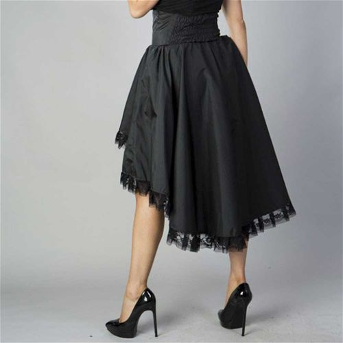Julia rok met hoge taille zwart taffeta - Victorian burlesque - S = UK8/EU36 - Burleska