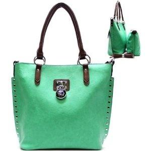 Metal Studs / Lock Stud Purse and Bag / Handbag / Bag in Bag / Green / Rchja2512mnt,$41.99