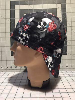 Welding Cap Skulls Roses Black Size XL/7-1/2