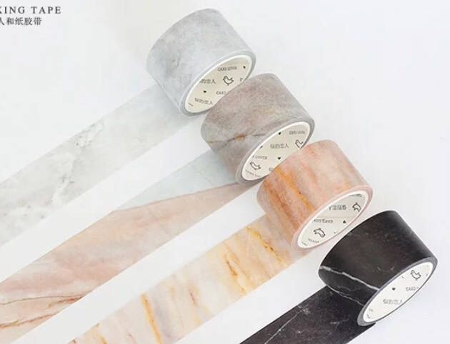 White Marble Wide Washi Tape Sample