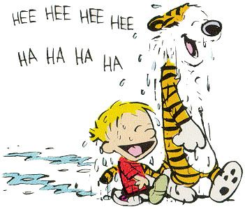 """Calvin and Hobbes QUOTE OF THE DAY (DA): """"Look! A trickle of water running through some dirt! I'd say our afternoon just got booked solid!"""" ― Bill Watterson"""