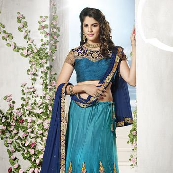 Teal Blue Art silk Lehenga Choli with Dupatta