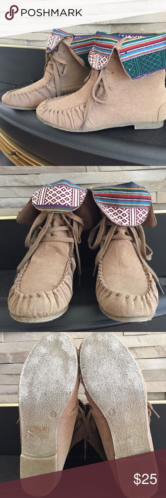 Aztec fold over moccasins   Cute moccasin style booties, folds over with Aztec design.  These are lightweight boots, in like new condition. Charlotte Russe Shoes Ankle Boots & Booties