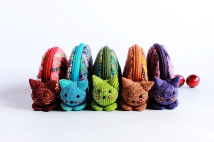 5 Coin purses, Cat purse zipper from TanMadeShop by DaWanda.com