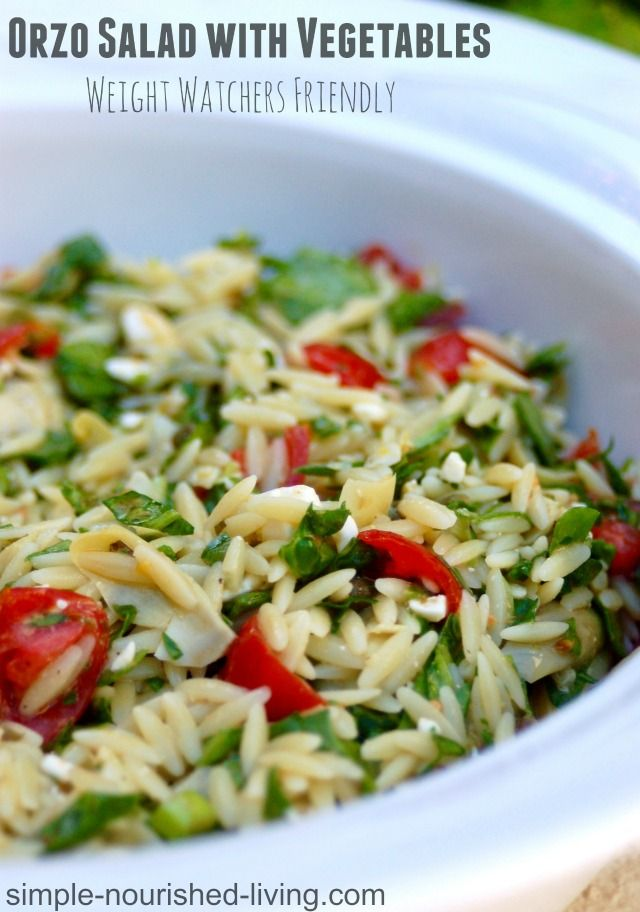 Easy Weight Watchers Orzo Salad with Vegetables. Easy. Light. Healthy. Flavorful. 193 calories and 5 WWPP http://simple-nourished-living.com/2015/04/weight-watchers-orzo-salad-with-vegetables/