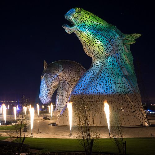 Best Kelpies Waterhorse Images On Pinterest Scotland L - Amazing horse head sculpture lights scottish skyline