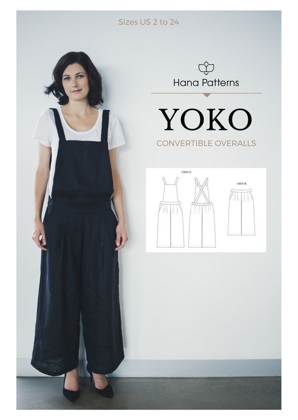 Chic Sewing Pattern for Women | The YOKO convertible pants / overalls is a versatile 2 in 1 piece to add to your handmade wardrobe. See more at http://www.hanapatterns.com