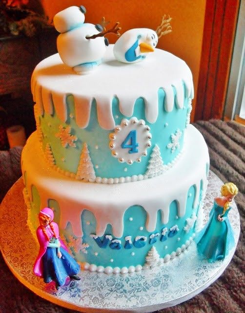 Disney Frozen Birthday Cake for Kids, Blue Birthday Cake Ideas, Cartoon Kids Birthday Party Ideas
