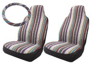 Baja Inca Saddle Blanket High Back Bucket Seat Covers Pair with Steering Wheel Cover Set : Amazon.com : Automotive