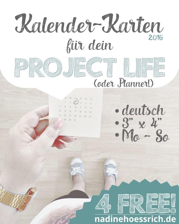 kostenlose Project Life Kalenderkarten 2016 in deutsch zum ausdrucken | nadinehoessrich.de