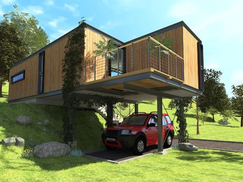 Container House in Poland, project based on the two types of sea containers. Two…